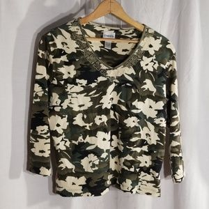 Chico's size 1 camo 3/4 sleeve embroidered Tshirt